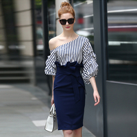 Spring New Female Celebrities Dew Shoulder Stripes With Lantern Sleeve Splicing Package Hip European Cultivate One