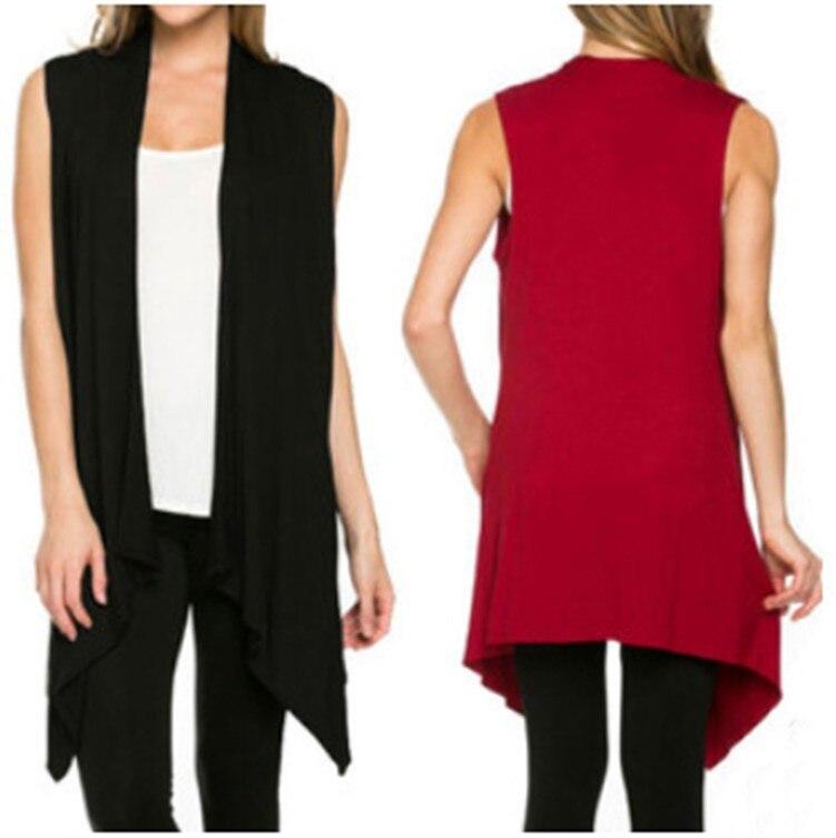 AQ153  Summer Thin Women Long Knitted Cardigan Sweater Sleeveless Solid Loose Ladies Sweter Mujer Cardigan Feminino