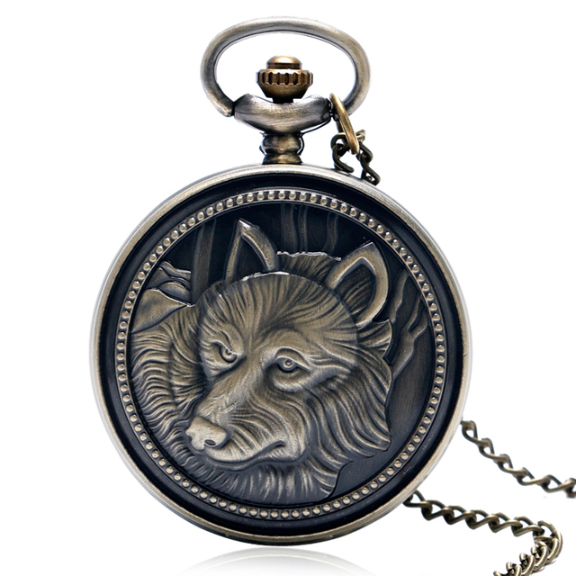 2018 New Arrival Vintage Bronze Dog Pattern Pocket Watch Men Women Antique Style