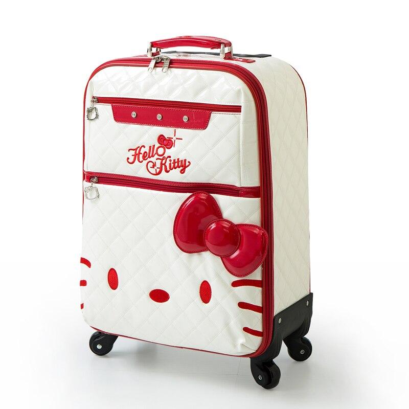 Винтажные искусственная кожа траве багажные сумки на универсальные диски, высокое качество женские Hello Kitty Мода Путешествие багаж, розовый ...