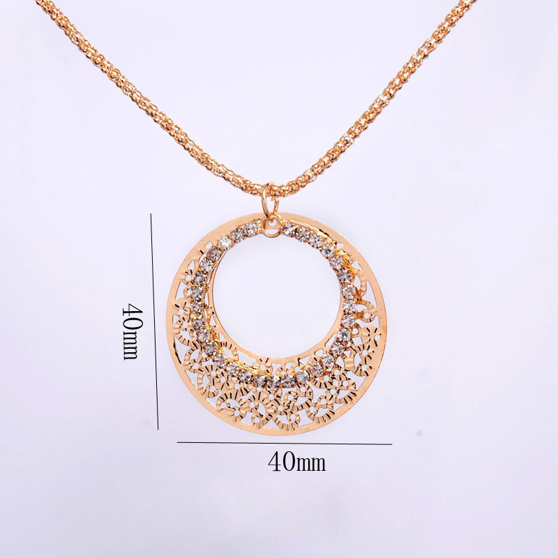 Gold-color Wedding Jewelry Sets Round Shaped Jewelry Elegant Engagement Earring + Pendant Necklace for Female Accessories 4
