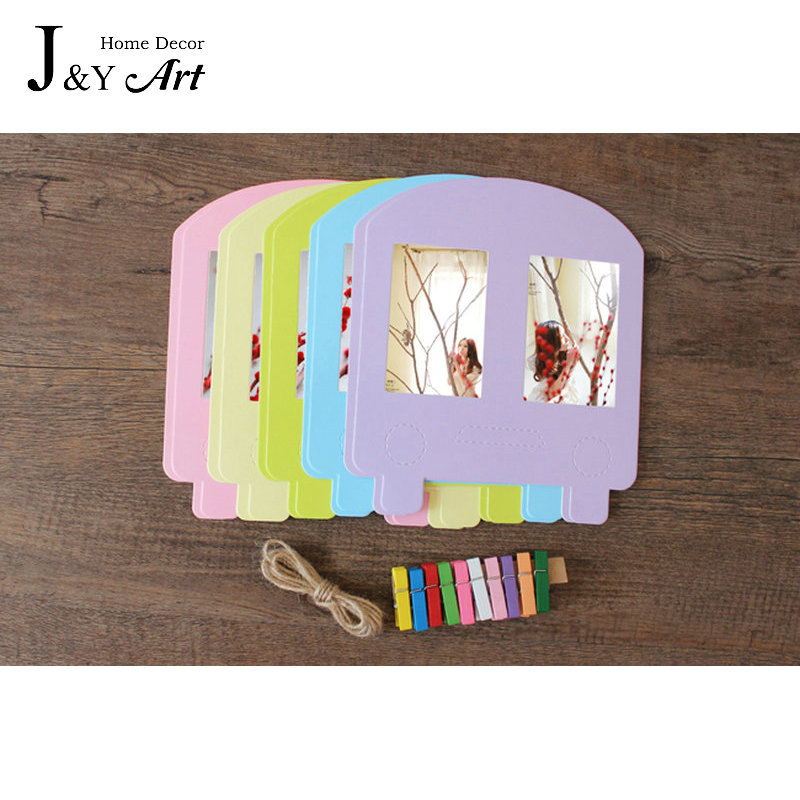 10 pcs/lot 3 Inch DIY Wall Hanging Colorfull Bus Paper Photo Frame For Pictures photo J&Y Art Home Decor JY-348