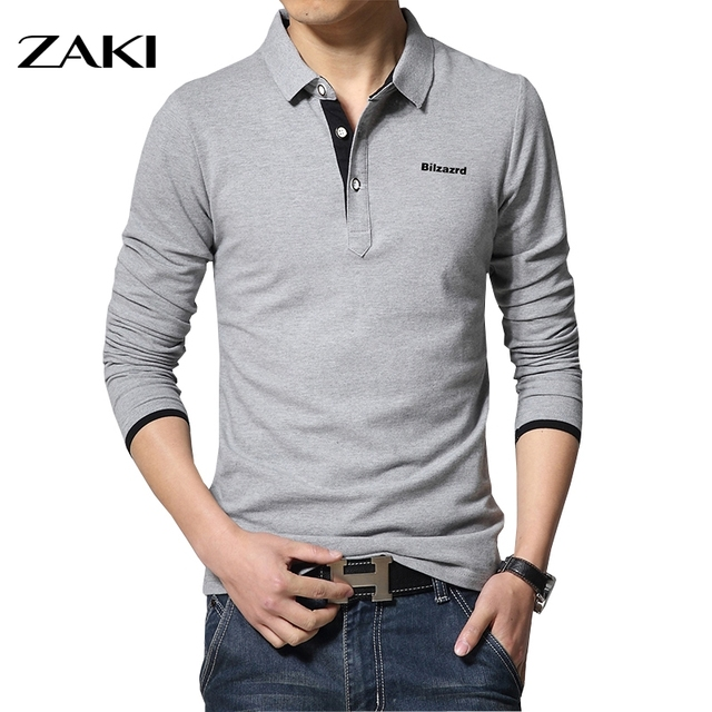 Casual hommes mode lettre impression manches longues hommes polos nouvelle mode marque polos homme hot vente mince polo shirt