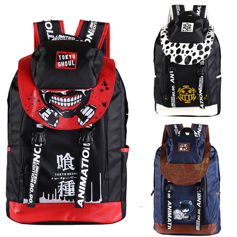 Anime Tokyo Ghoul One Piece Time Raiders Attack On Titan Canvas Travell Backpack Female School Student Shoulder Cartoon Bag Pack anime tokyo ghoul cosplay anime shoulder bag male and female middle school student travel leisure backpack