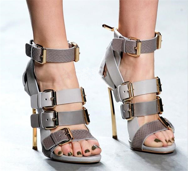 New Fashion Luxury Gold Heel Women High Heel Shoes Mixed Colors Buckle Rome Gladiator Lady Sandals Party Cover Heel Sandal shoes beango mixed color women sandals women square high heel shoes woman narrow band buckle open toe concise sandal shoes for lady