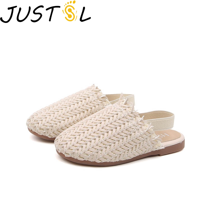 JUSTSL Girls Woven Flat Slippers Children's Retro Casual Shoes Kids Baby Autumn Comfortable Non-slip Sandals Size 21-35
