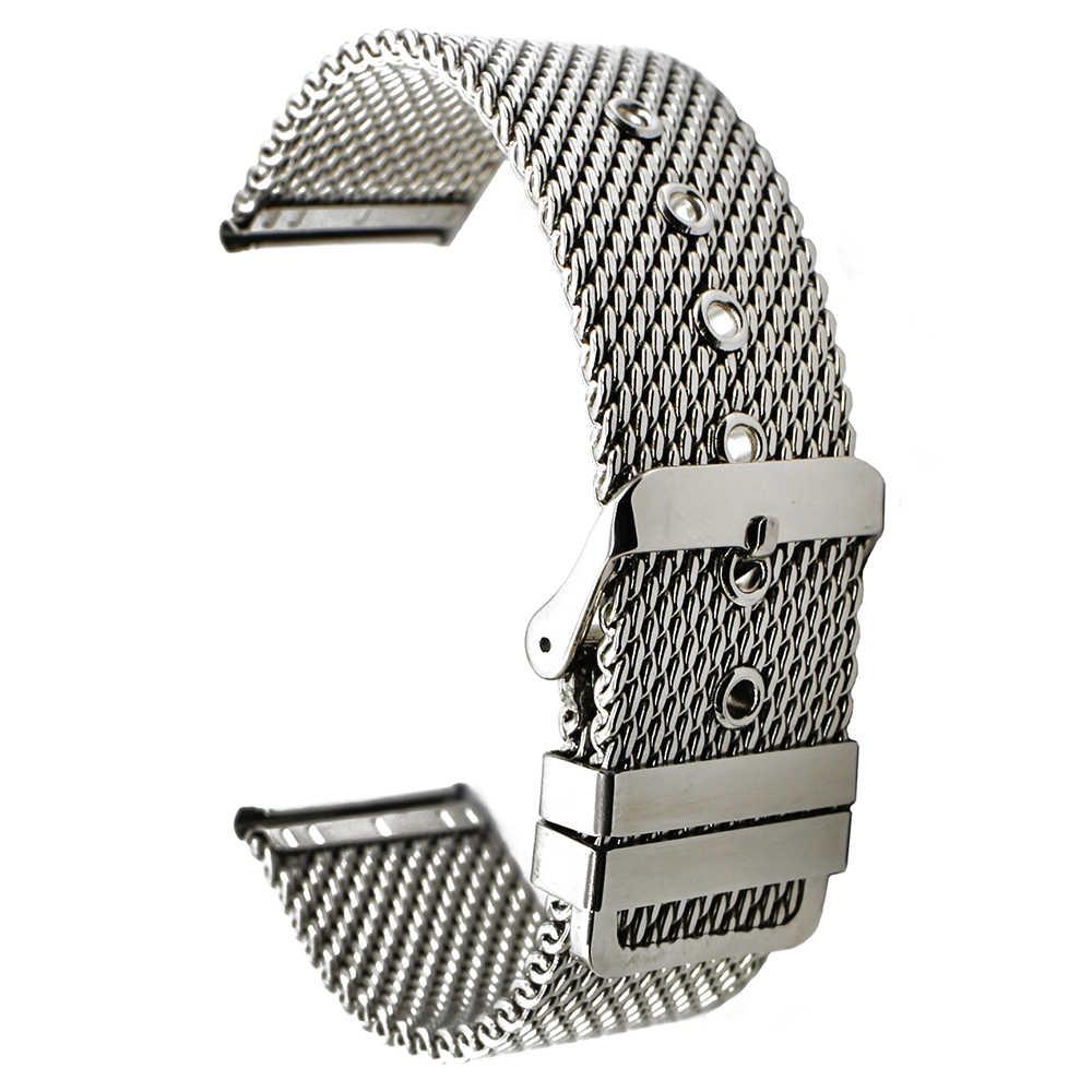 """20 מ""""מ 22 מ""""מ 24 מ""""מ ממילאנו נירוסטה צפו בנד עבור Rado רצועת השעון גברים נשים מתכת רצועת פרק כף היד לולאת חגורה צמיד שחור + Pin"""