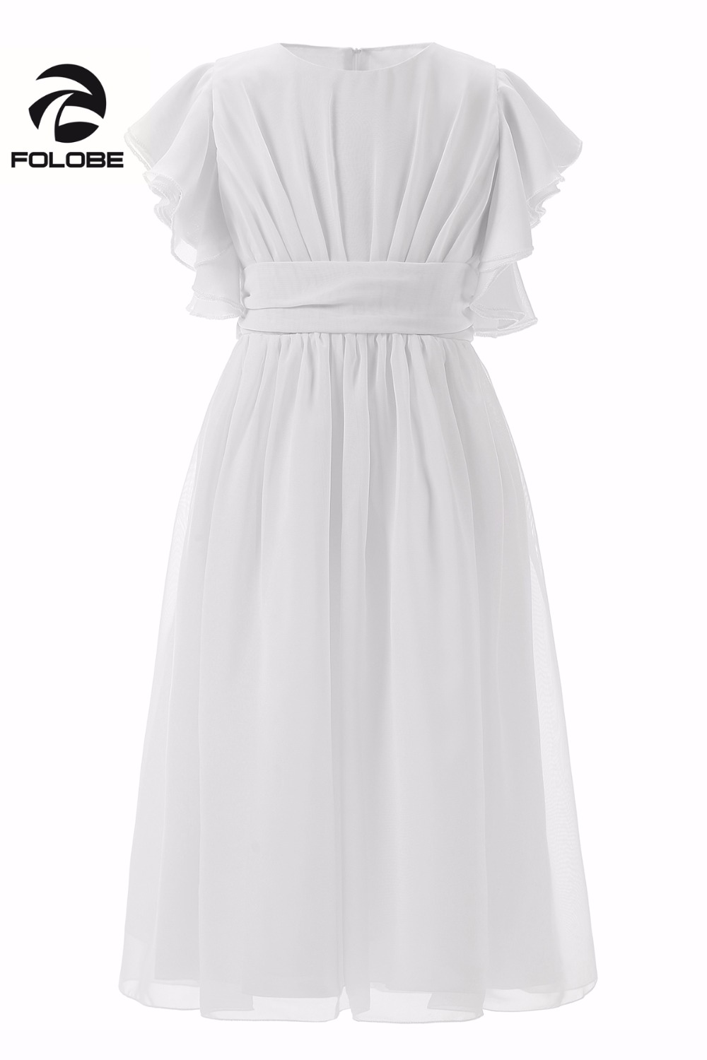 Simple White Chiffon Ruffles Pleats   Flower     Girl     Dress   For Wedding First Communion   Dresses   For   Girls   Prom Party   Dresses