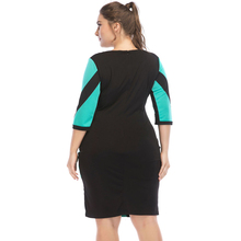 Office Style Slim Leather Contrast Stitching Dress