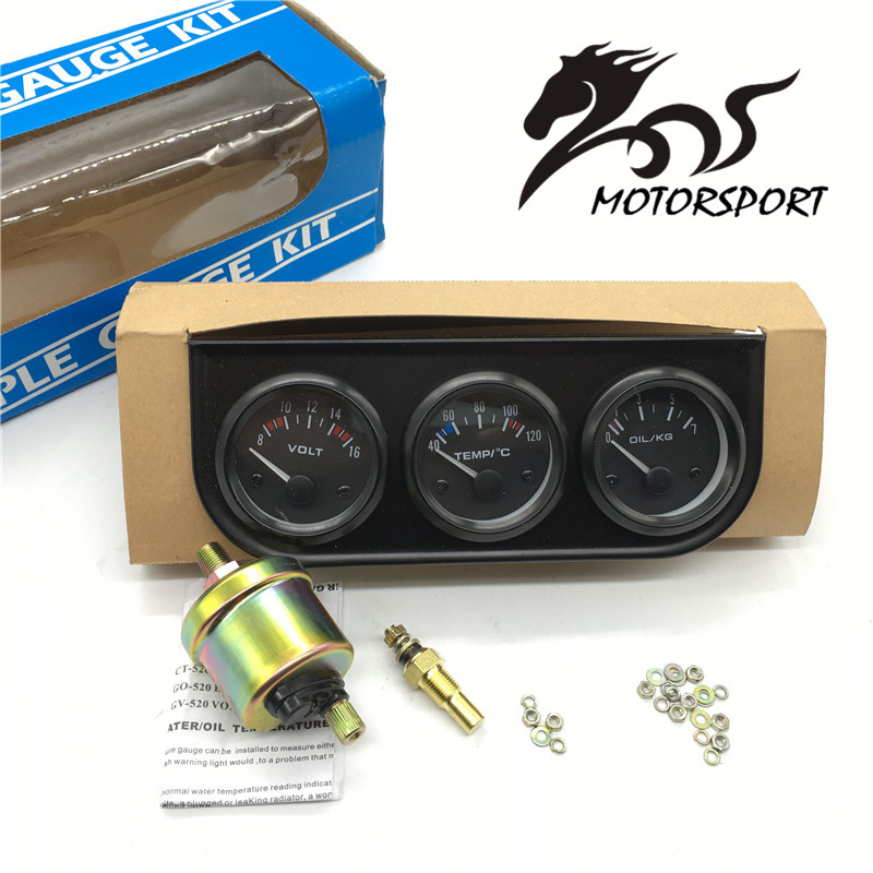 52MM 3 In 1 Volt meter +water temp gauge +Oil Pressure Gauge Kit car meter Volt meter Water Temperature Gauge Triple tachometer