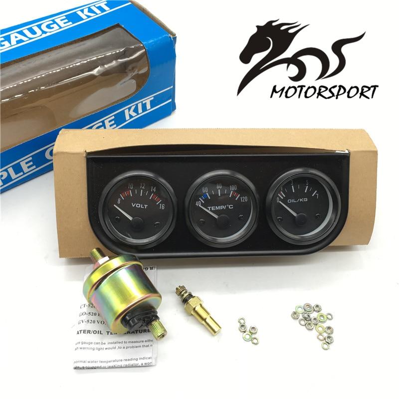 52MM 3 In 1 Volt meter +water temp gauge +Oil Pressure Gauge Kit car meter Volt meter Water Temperature Gauge Triple tachometer