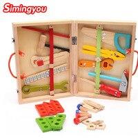 Simingyou деревянный Educationa головоломки мультфильм Toolbox Услуги моделирование Toolbox гайка Toolbox детская игрушка zb03 Прямая доставка