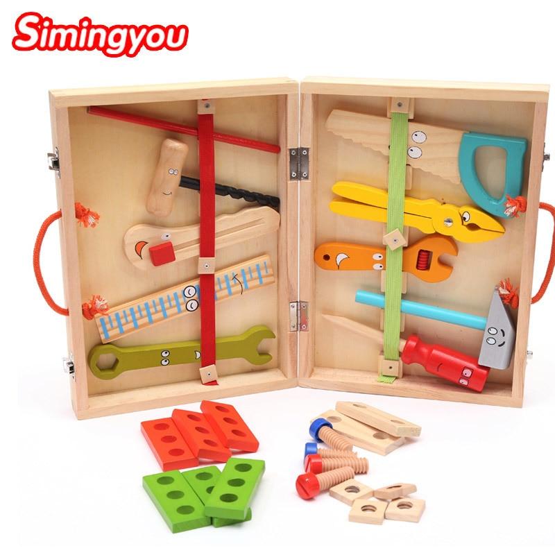 Simingyou Wooden Educationa Puzzle Cartoon Toolbox Service Simulation Toolbox Nut Toolbox Children Toy ZB03 Drop Shipping toolbox matrix 13562