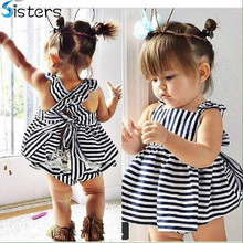 2017 Summer Vestidos Baby Girl Dresses Princess Children Dress Stripe Baby Clothing Kids Girl Dress Brand Girls Clothes Costumes