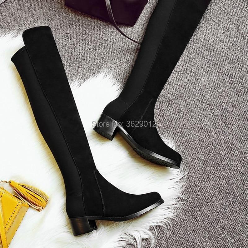 Genou Bas Chunky Automne Sur Mode Chaussures Stretch Sexy Boot Bout Talon Rond Femmes Le Bottes Plat qUAwSE