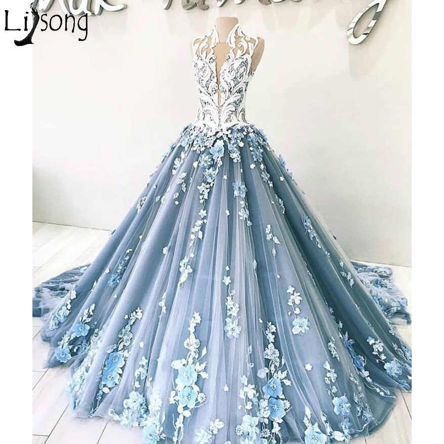 26f354534ec19 New Arrival Luxury Blue Prom Dresses Elegant 3D Floral Appliques Ball Gown  Evening Dress Dubai Arabic Formal Wear Robe De Soiree