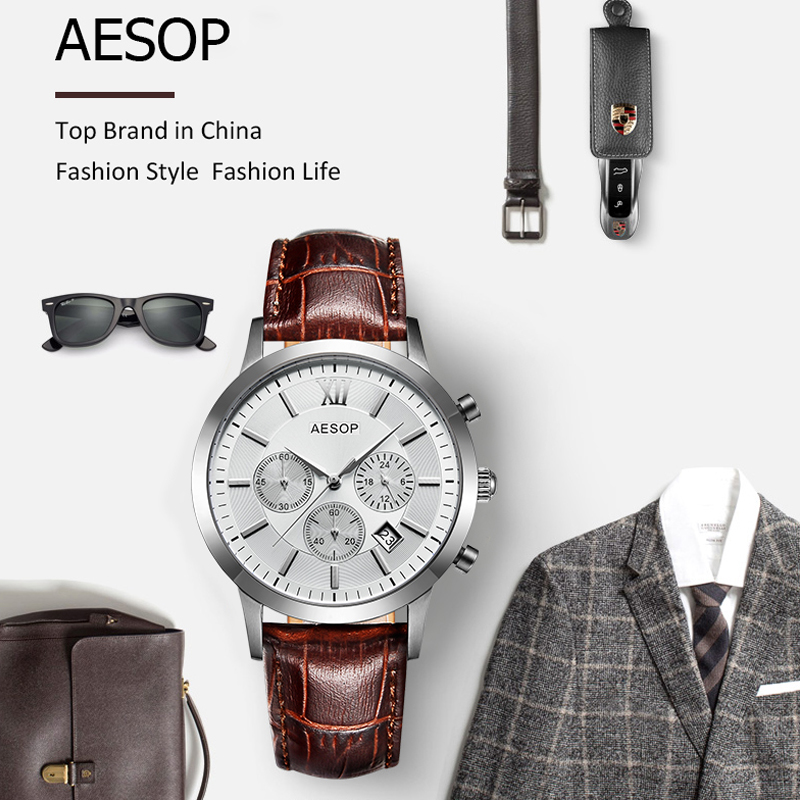 AESOP saphir cristal montre hommes Sport Quartz chronomètre montre-bracelet automatique Date cuir mâle horloge Relogio Masculino Hodinky nouveau 46 - 5