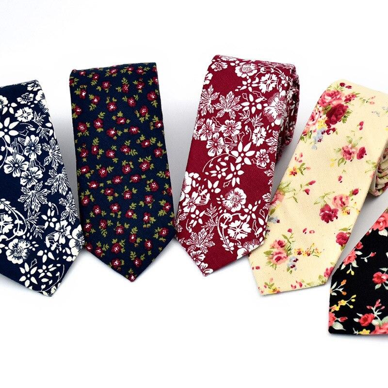 Business Groom Wedding Floral Ties Cotton Men Print Skinny Slim Neck Gravatas Suits Necktie Tie for