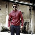 Men's pigskin motorcycle real leather jacket Genuine Leather jackets  Autumn winter warm coat men Red and black PU stand collar
