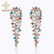 TREAZY Multicolor Flower Crystal Long Dangle Earrings for Women Bridal Drop Earrings Luxury Wedding Party Jewelry Accessories