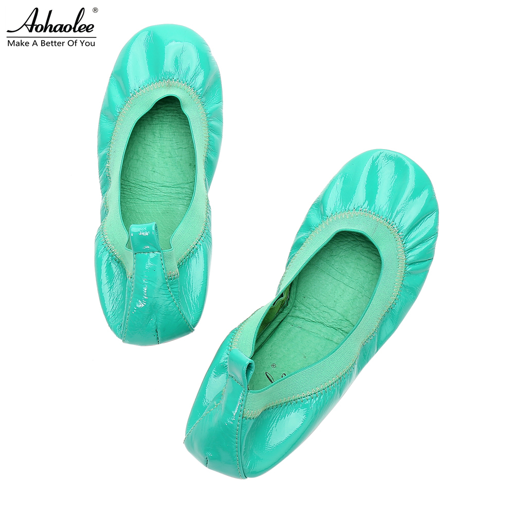 Aohaolee Fashion Women's Shoes Genuine Leather Flats Hot Sales Ballerina Ballets Flats Foldable Travel Rollable Pregnant Shoes chasin футболка