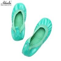 Aohaolee Mode Damesschoenen Lederen Flats Hot Sales Ballerina Balletten Flats Opvouwbare Reizen Oprolbaar Zwangere Schoenen
