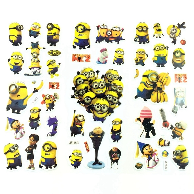 Cartoon Stickers Cute Minions Stickers for Children Kids Decorative Foam Stickers Gift for Baby Boys and Girls 3Pieces/Lot