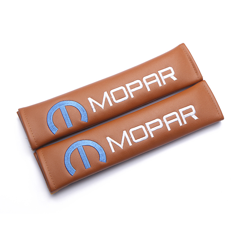 Modification For MOPAR edition emblem brown leather seat belt cover shoulder pad Car accessories for Chrysler Cadillac ford in Seat Belts Padding from Automobiles Motorcycles