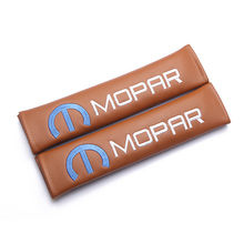 Modification For MOPAR edition emblem brown leather seat belt cover shoulder pad Car accessories for Chrysler Cadillac ford
