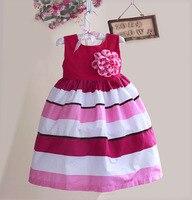 New Hot Seller Girls Dresses Rainbow Stripe Girl S Dress With Lace Pattern Princess Dress Kids