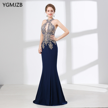 Navy Blue Halter Sexy Mermaid Evening Dresses Long 2018 Jersey Embroidery Sheer Back Formal Prom Evening Gown Robe De Soiree