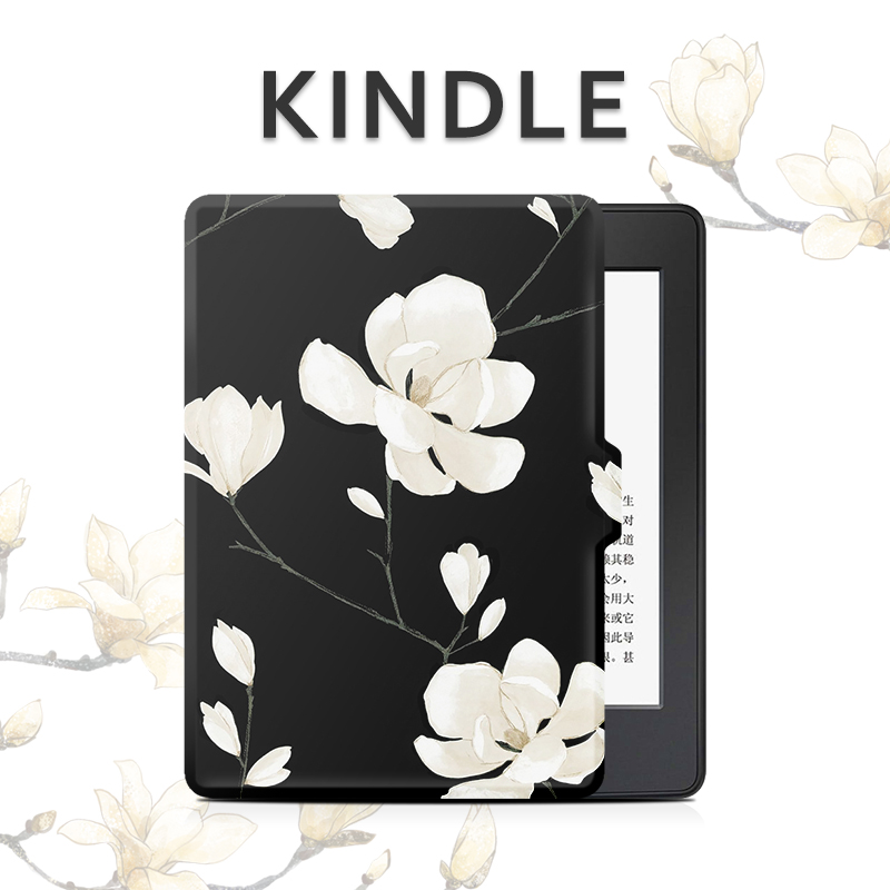 Magnolia Flower Design 2016 8th New Kindle/ Paperwhite 3/2/1 /Voyage 7th Kindle Case Folio Pu Leather Magnet Cover for Amazon mdfundas flower animal pattern cover for amazon kindle paperwhite 1 2 3 case flip stand leather shell for kindle paperwhite 3