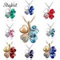 Chapado En Oro de Joyería de moda collar de diamantes de imitación de Cristal Austriaco de cuatro Hojas del Trébol del corazón colgante de joyería