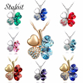 Fashion Jewelry Gold Plated Austrian Crystal four Leaf Leaves Clover heart rhinestones necklace pendant jewelry