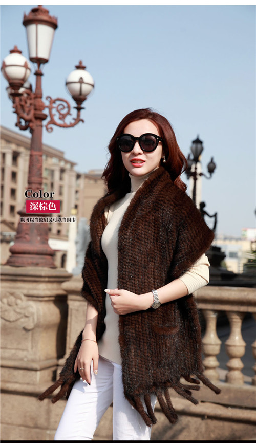 Натуральная вязаная кожа норковый шарф Зимний шарф завернутый Дамы Теплый ручной работы Мода натуральный мех черный/коричневый шаль - Цвет: Brown