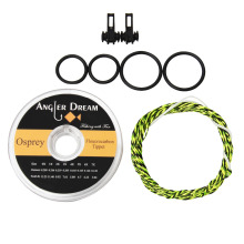 12 / 13FT Furled Leader Tenkara Fly Fishing Line Braided Tenkara Line Grass Green Gold  with Hook Keeper Flouorocarbon Tippet