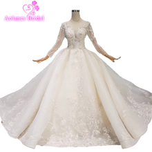 2019 Ball Gown Off The Shoulder High Neck Hand Made Flower Crystal Beaded Bridal Dress Custom Quality Wedding Dresses