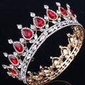 2017 new Hot European royal wedding bride drops of tire crown king queen rhinestone jewelry design headdress head gold color
