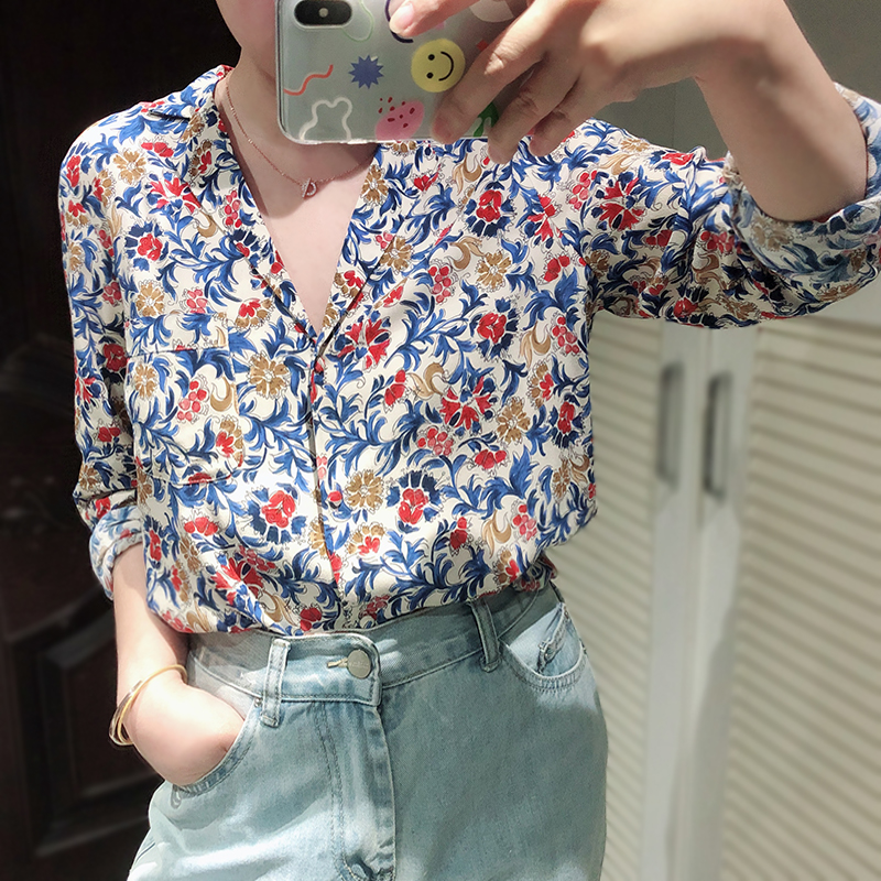 Women Flower Print Long Sleeve Shirt 2019 New Notched Neck Elegant Sweet Blouse Top