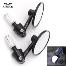 7/8 22mm Motorbike Handle Bar End Rear View Mirrors Round Cafe Racer Modification Mirrior motorcycle DirtBike