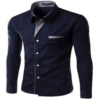 2017 New Fashion Brand Camisa Masculina Long Sleeve Shirt Men Korean Slim Design Formal Casual Male Dress Shirt Size M-4XL  1