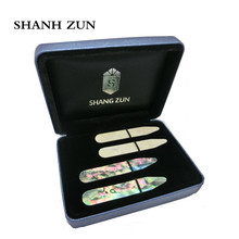 SHANH ZUN Collar Bones,Mother of Pearl, Premium Mens Accessories Gift-Bonus Stays 2 Pairs Gift Set