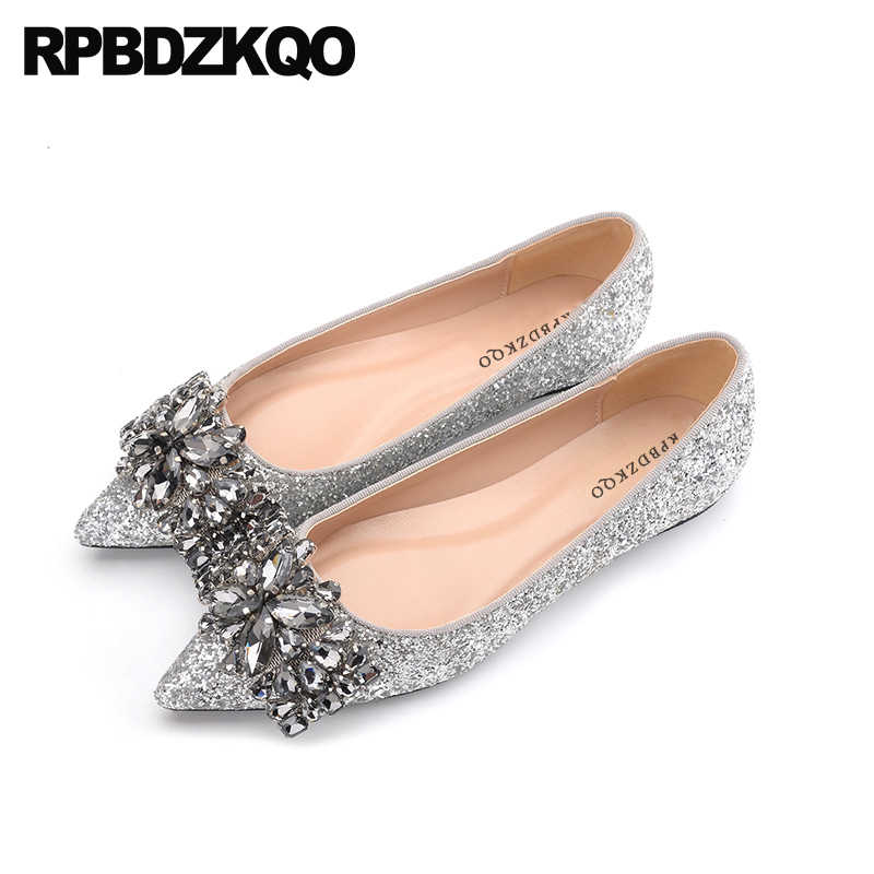f7e3b716c326a Size 41 Rhinestone Crystal Silver Slip On Women Wedding Autumn Spring Bling  Sequins Single Shoes Large