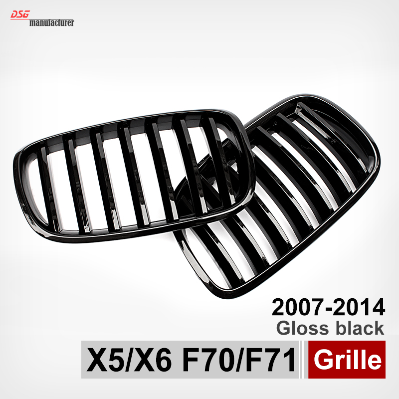 E70 black abs kidney racing grille for bmw 2007 - 2013 x5 series e70 & 2008 - 2014 x6 e71 e72 front bumper replacement bumper grill kidney grille front grid for bmw x5 e70 x6 e71 2007 2014 abs material replacement grid front hood