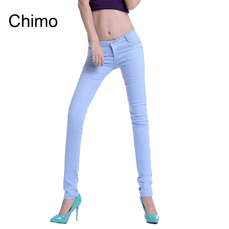 2017 Summer Fashion Pencil Jeans Woman Candy Colored Mid Waist Full Length Zipper Slim Fit Skinny