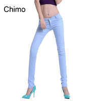 2018 Summer Fashion Pencil Jeans Woman Candy Colored Mid Waist Full Length Zipper Slim Fit Skinny