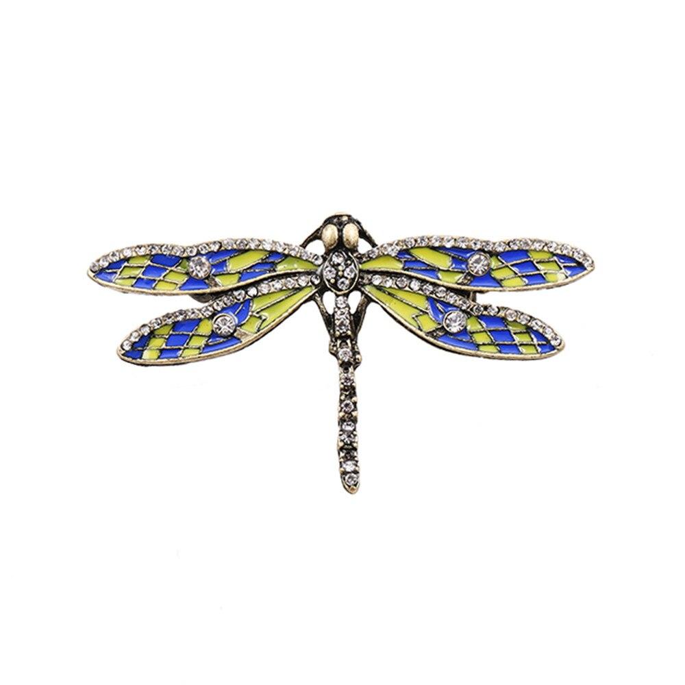 ჱNueva moda retro gota esmalte piedras semipreciosas libélula ...
