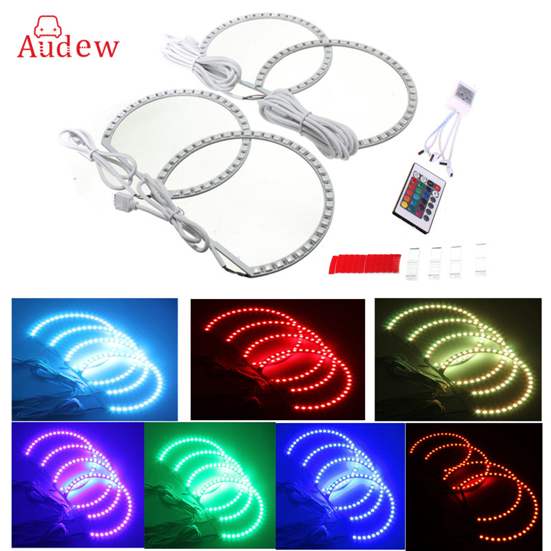 Multi-Color RGB LED Flash Strobe Light Angel Eye Halo Rings Car Headlight For BMW X5 M3 E46 E36 E38 E39 325 330 525 530 E53 540i 4pcs set yellow car ccfl halo rings led angel eye headlight kits for bmw e32 e34 e30 e39oem j 4164