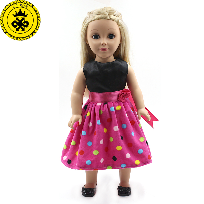 American Girl Doll Princess Doll Accessories Colorful Points Dress fit for 18 Inch/45 cm American Girl doll Children Gift MG-148 handmad 18 inch american girl doll clothes princess anna dress fits 18 american girl doll mg 032