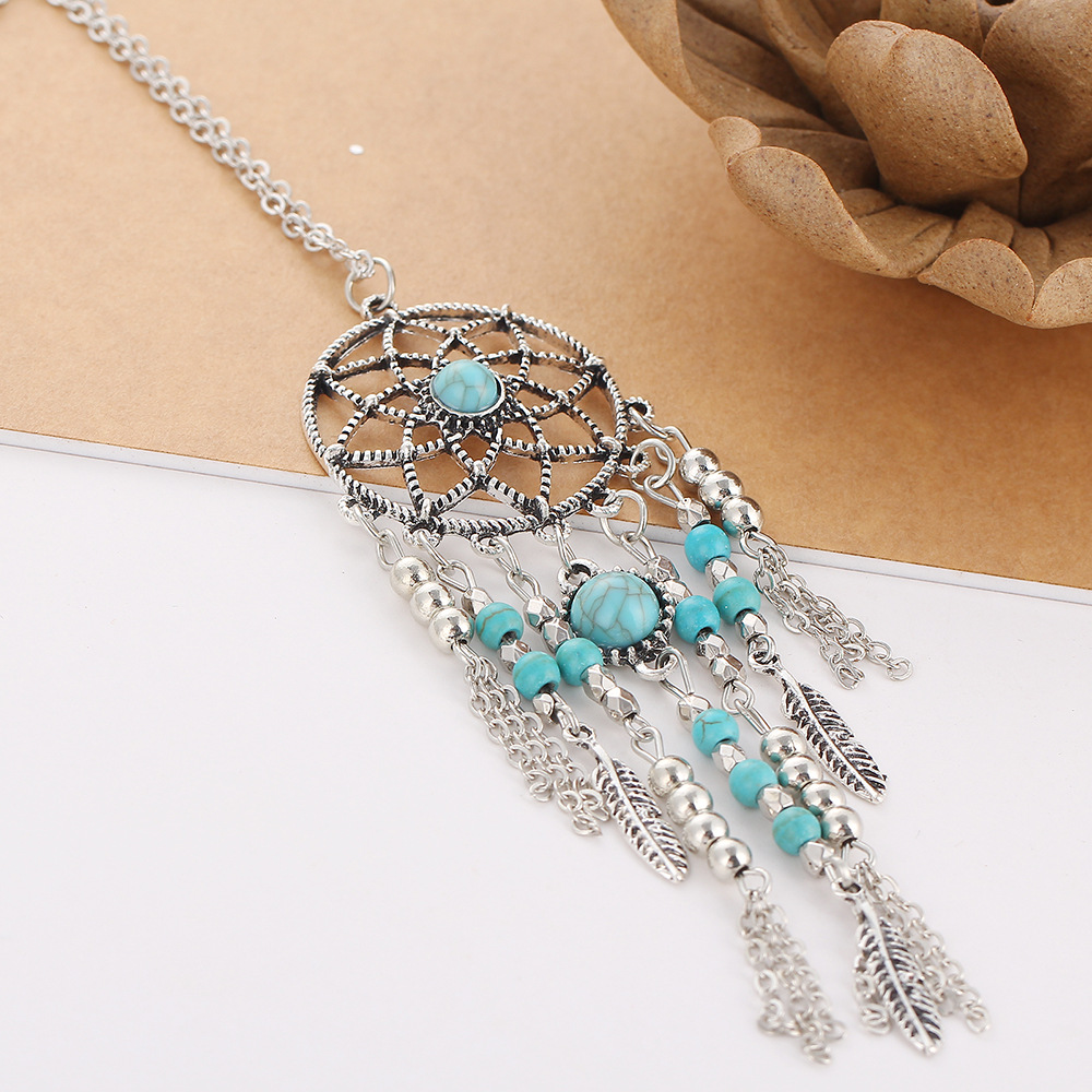 gold dreamcatcher catcher dream plated pendant turquoise necklace eu magnolia en